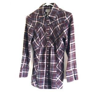 MISS LILI Flannel Button Down Shirt